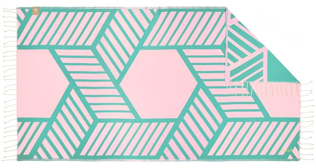 Futah_Beach_Towel_Comporta_Pink&Emerald;_1_A