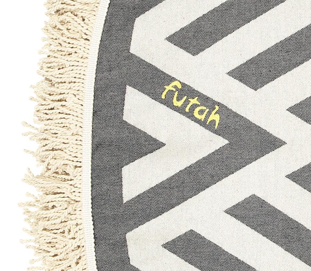 Futah_Beach_Towel_ROUND_Benagil_Black&White;_3