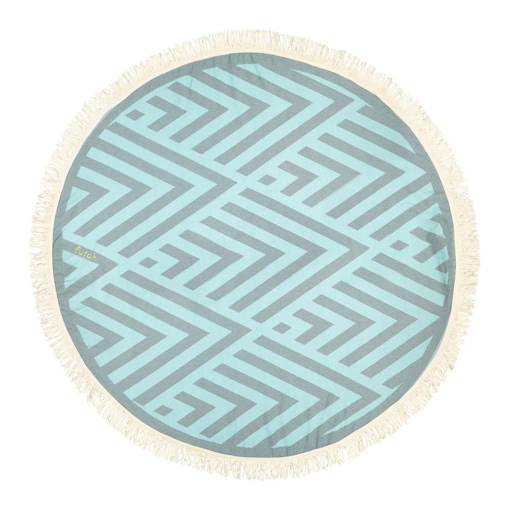 Futah_Beach_Towel_ROUND_Benagil_Mint&Grey;_1