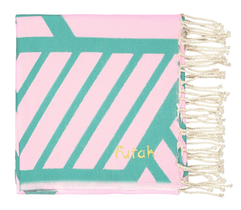 Futah_Beach Towel_Comporta_Pink_Emerald_2_A