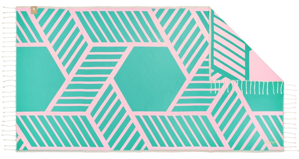 Futah_Beach_Towel_Comporta_Pink&Emerald;_1_B