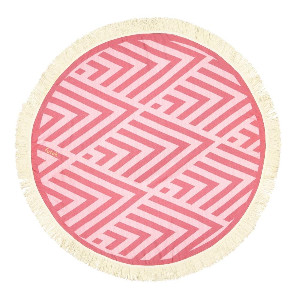 Futah_Beach_Towel_ROUND_Benagil_Pink&Red;_1