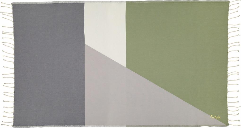 Futah_Beach_Towel_Zambujeira olive & grey -2_Front