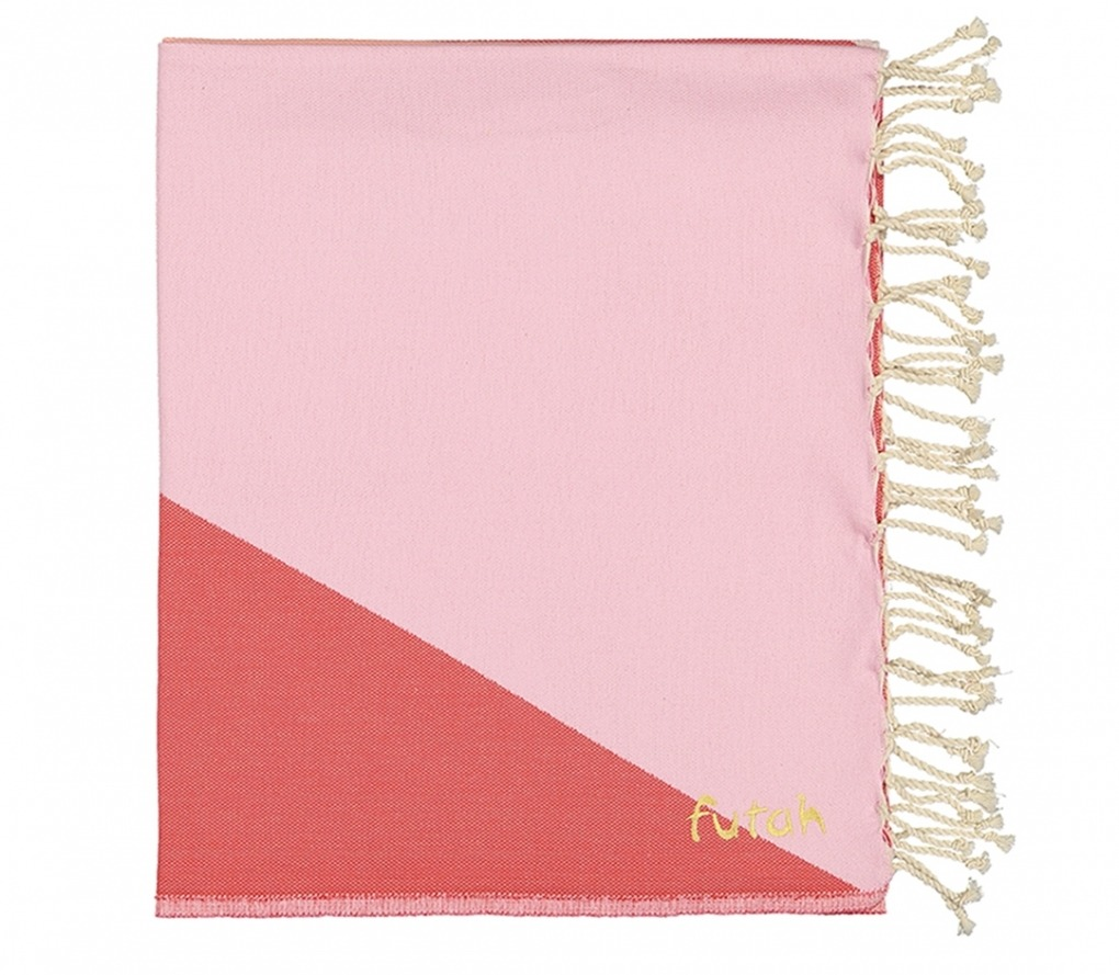 Futah_Beach_Towel_zambujeira_ pink & red _Folded_
