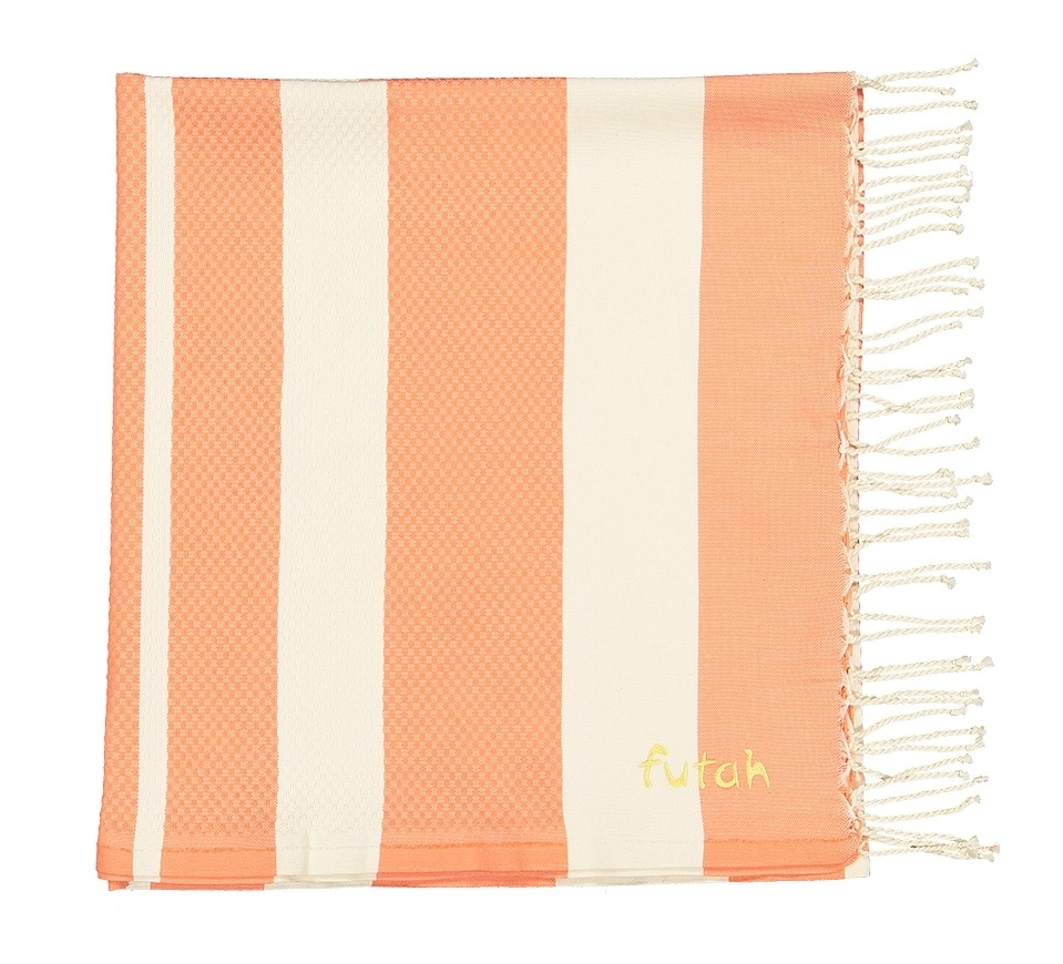 Futah_Beach_Towel_baleal_living coral_Folded