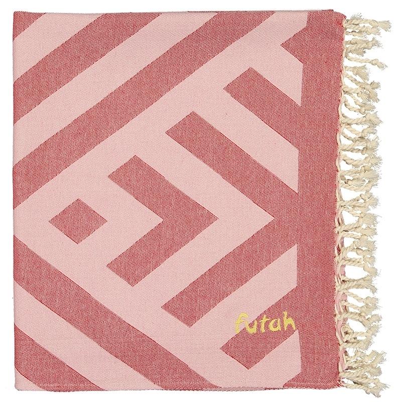 Futah_Beach_Towel_benagil_pink & red_Folded