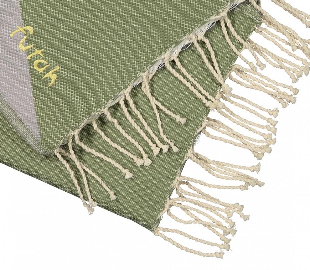 Futah_Beach_Towel_zambujeira olive & grey_Detail