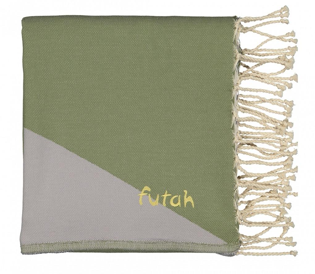 Futah_Beach_Towel_zambujeira olive & grey - front_Folded