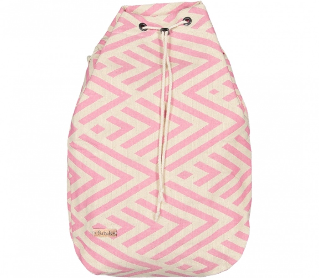 benagil 100% cotton backpack pink_Front_FUTAH