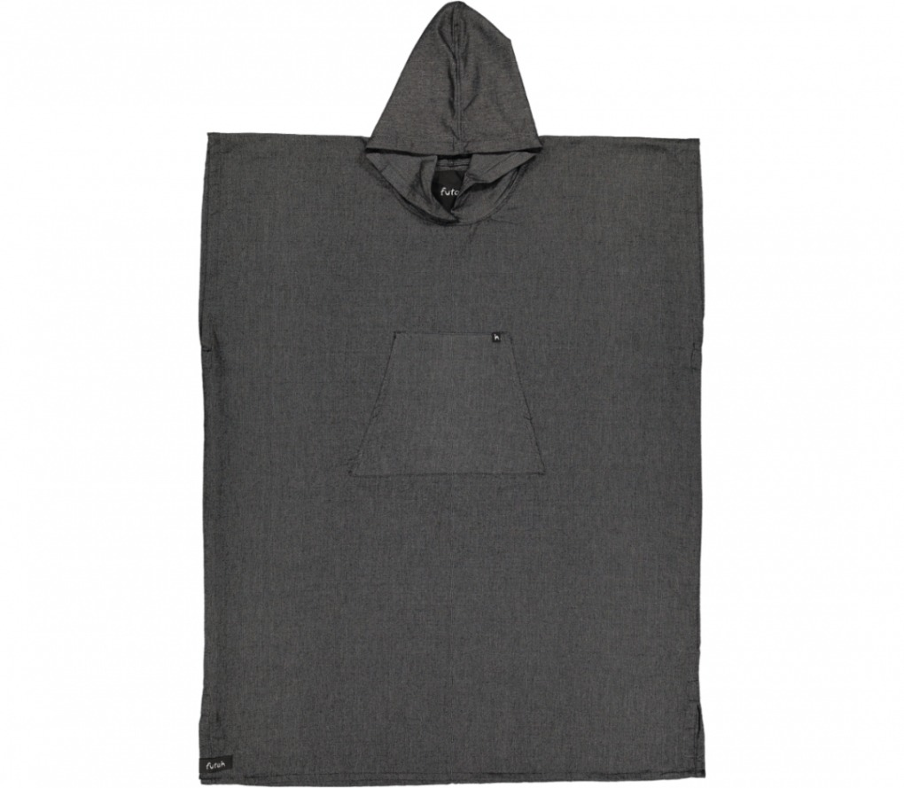 futah beach towels poncho Ericeira Poncho Deep Black Front
