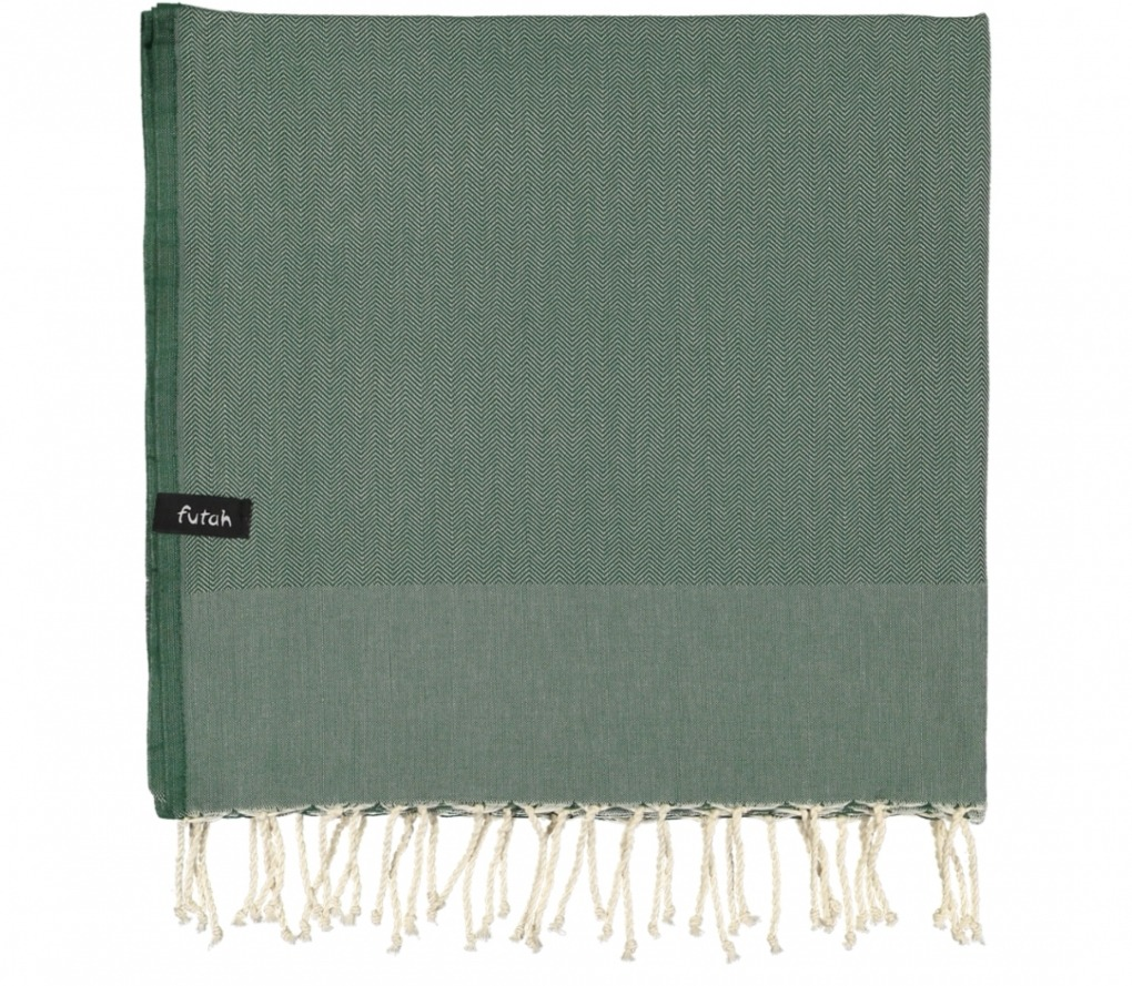 futah beach towels single Ericeira Single Towel Verdant Green Folded