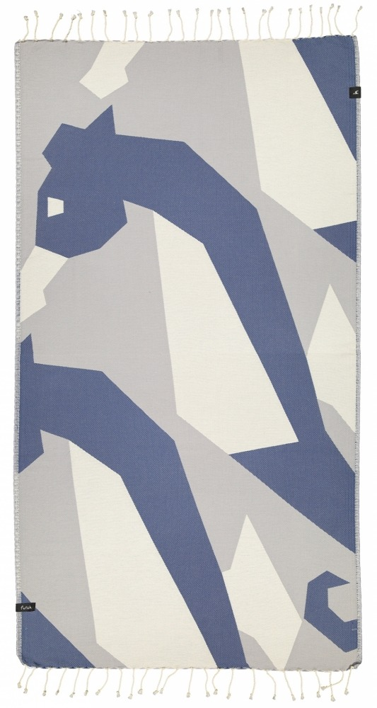 futah beach towels single Hippocampus Single Towel Indigo Blue Front_2