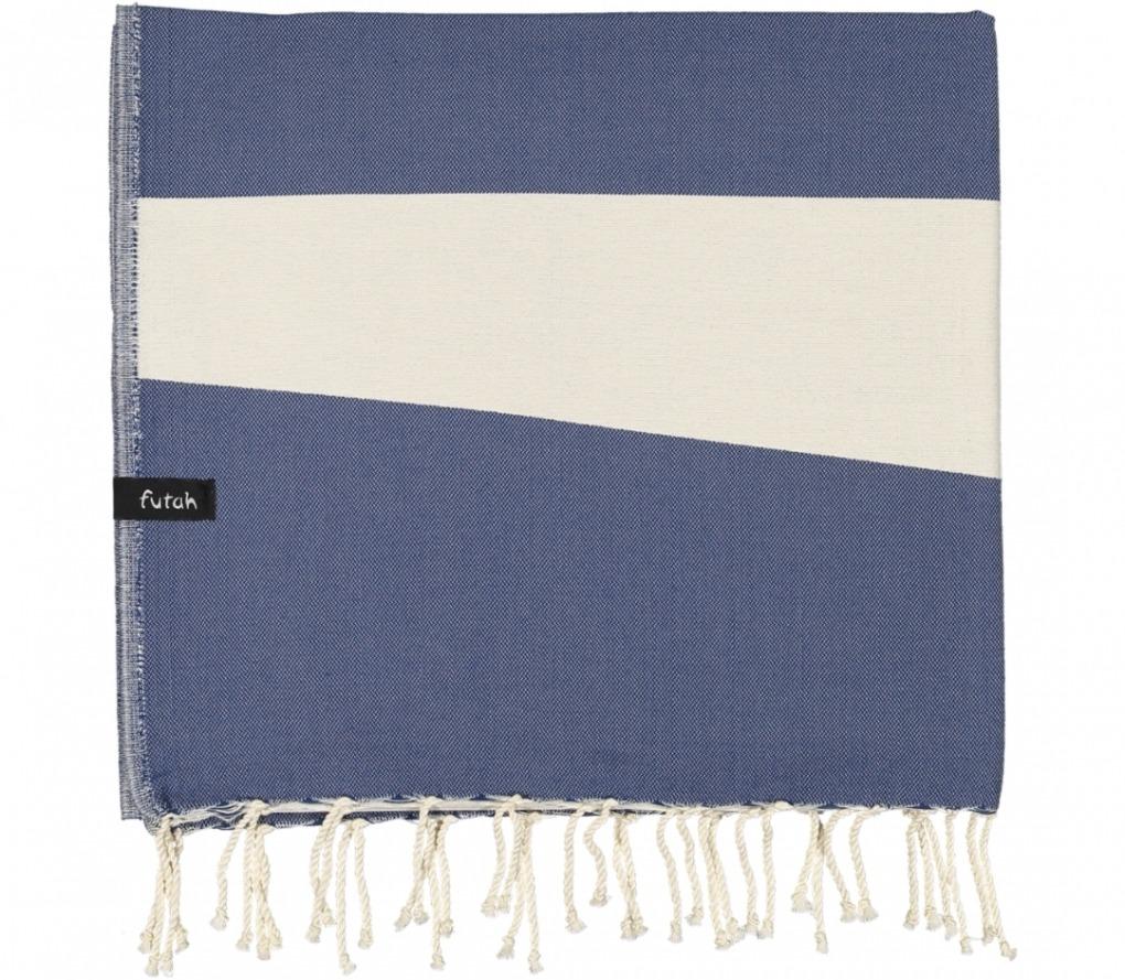 futah beach towels single Formosa Single Towel Indigo Blue Folded