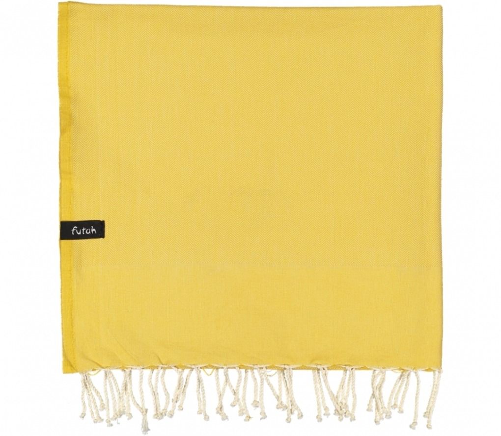 futah beach towels single Ericeira Single Towel Mustard Folded