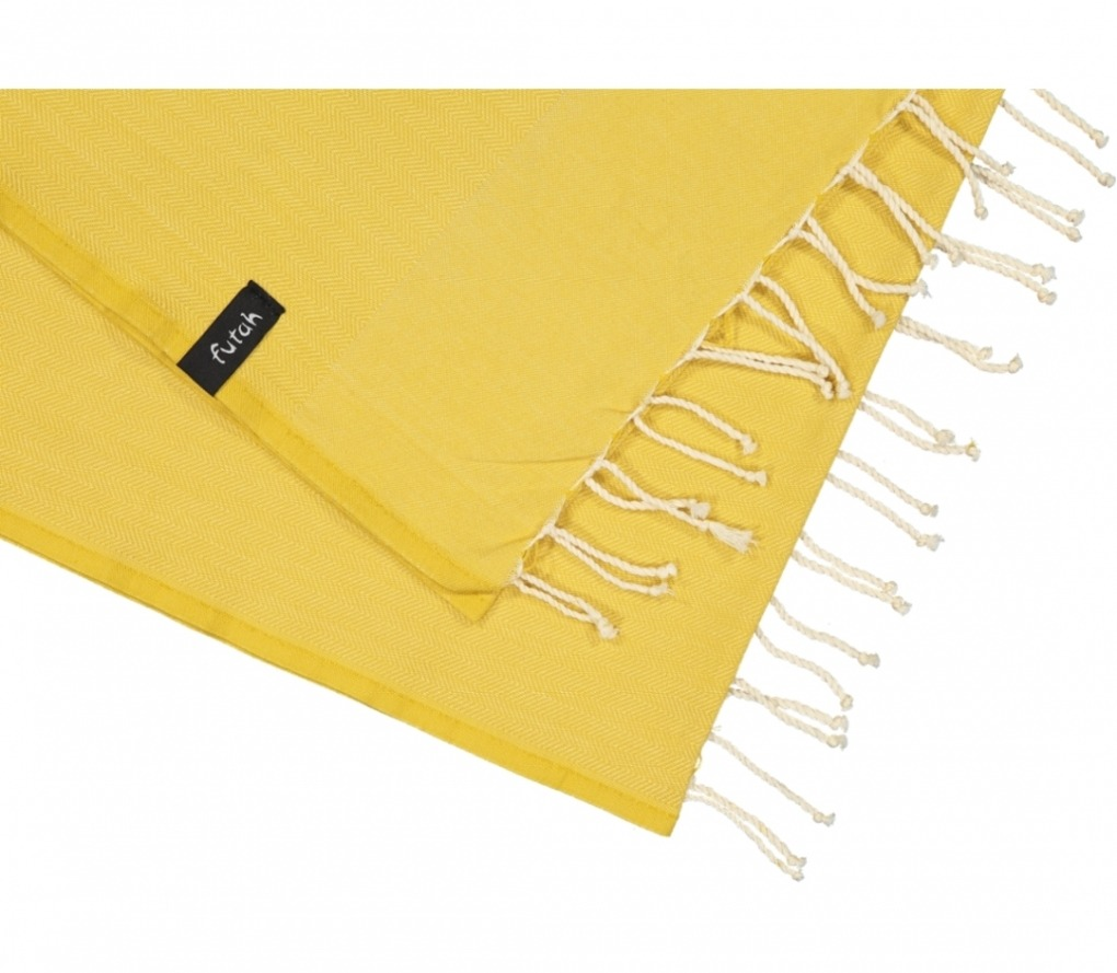 futah beach towels single Ericeira Single Towel Mustard Detail