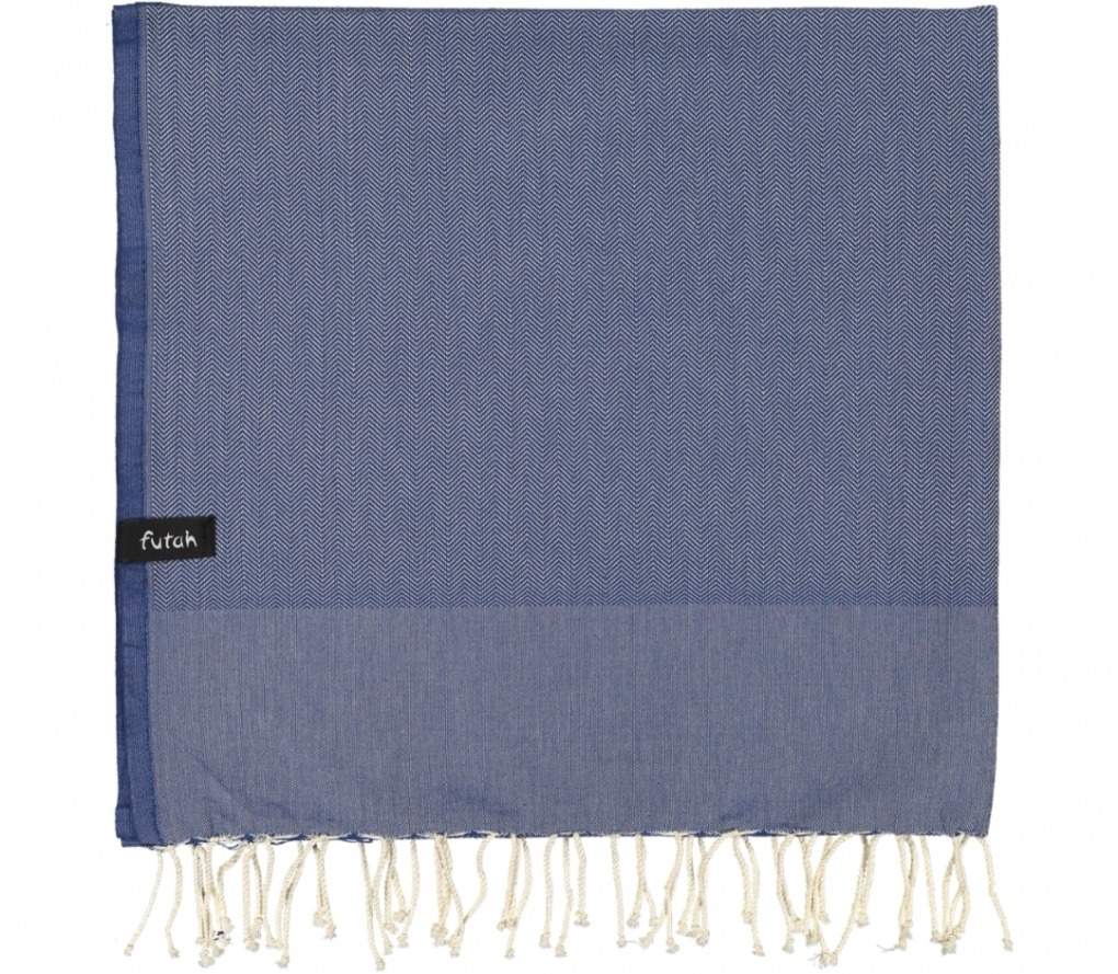futah beach towels single Ericeira Single Towel Indigo Blue Folded