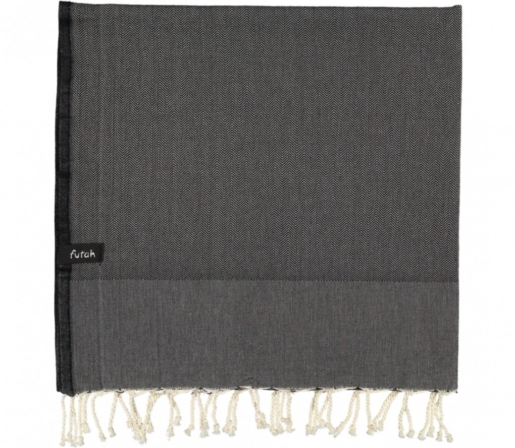 futah beach towels single Ericeira Single Towel Deep Black Folded