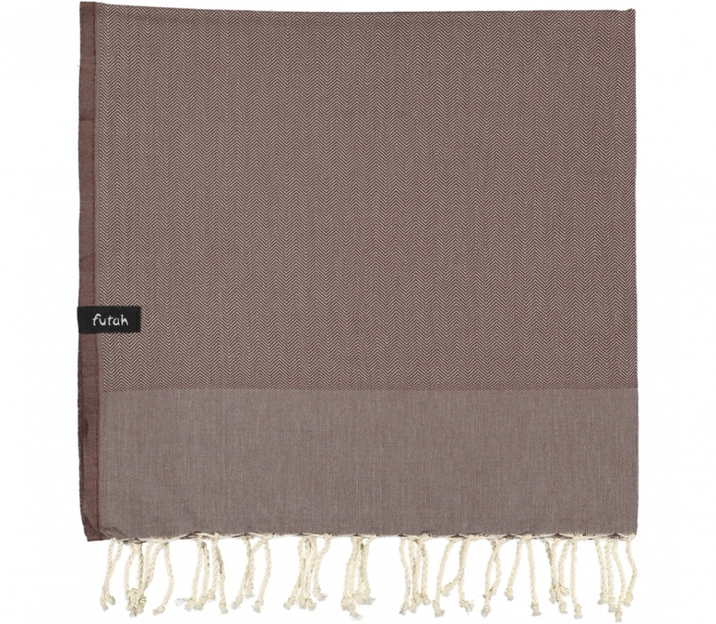 futah beach towels single Ericeira Single Towel Chestnut Folded