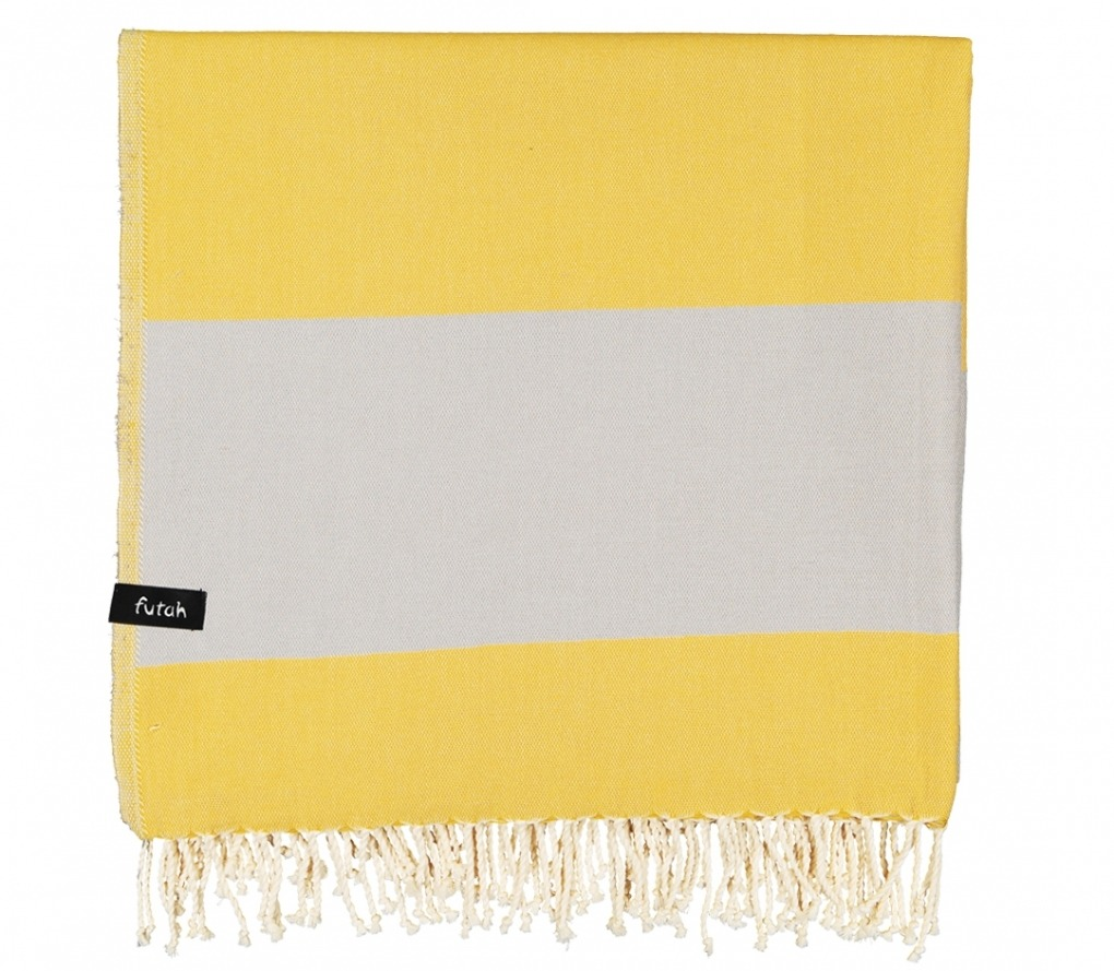 XL Towel Formosa Mustard Grey Folded
